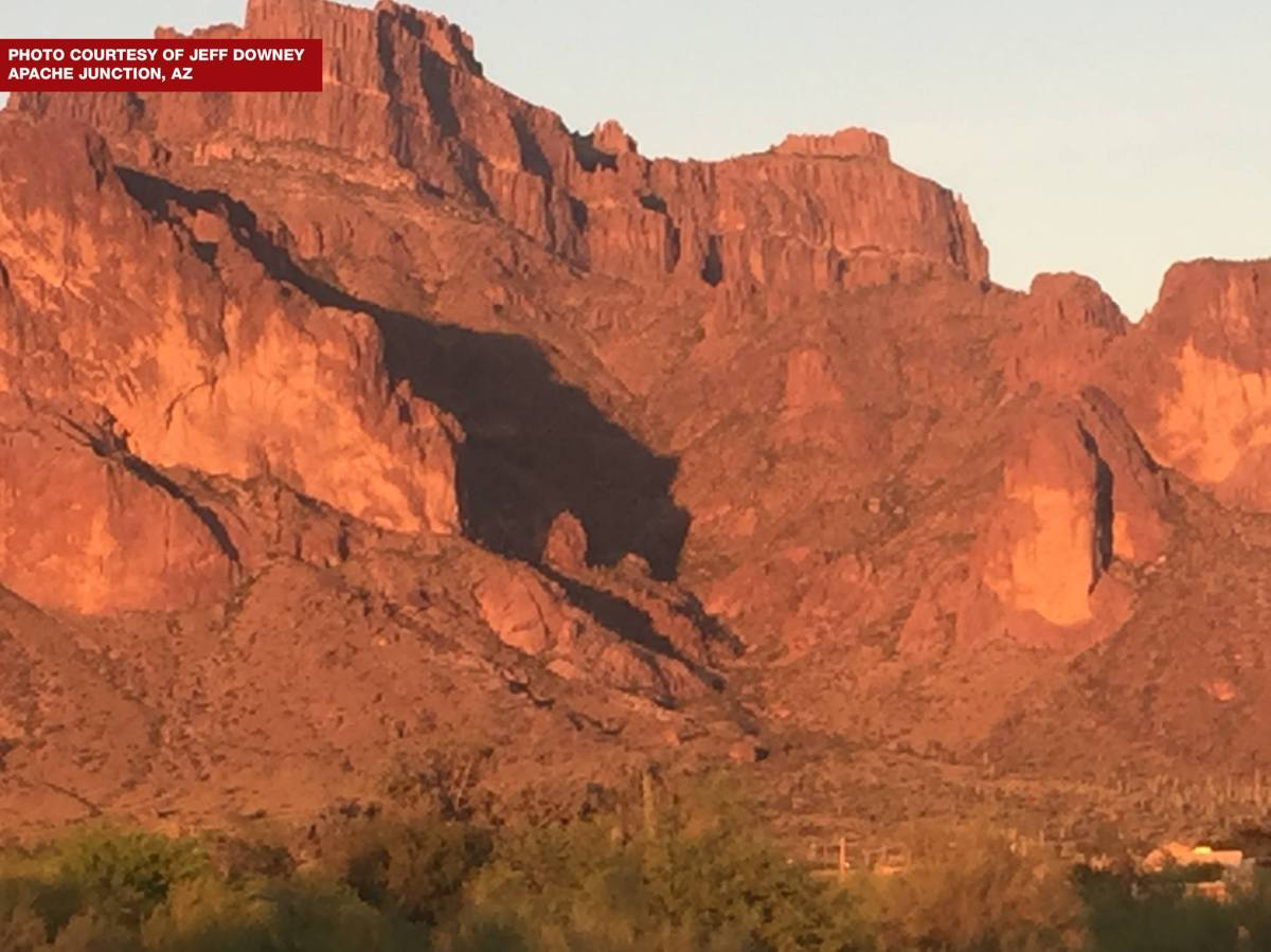 Superstition Mountains cougar shadow appears only a few days a year