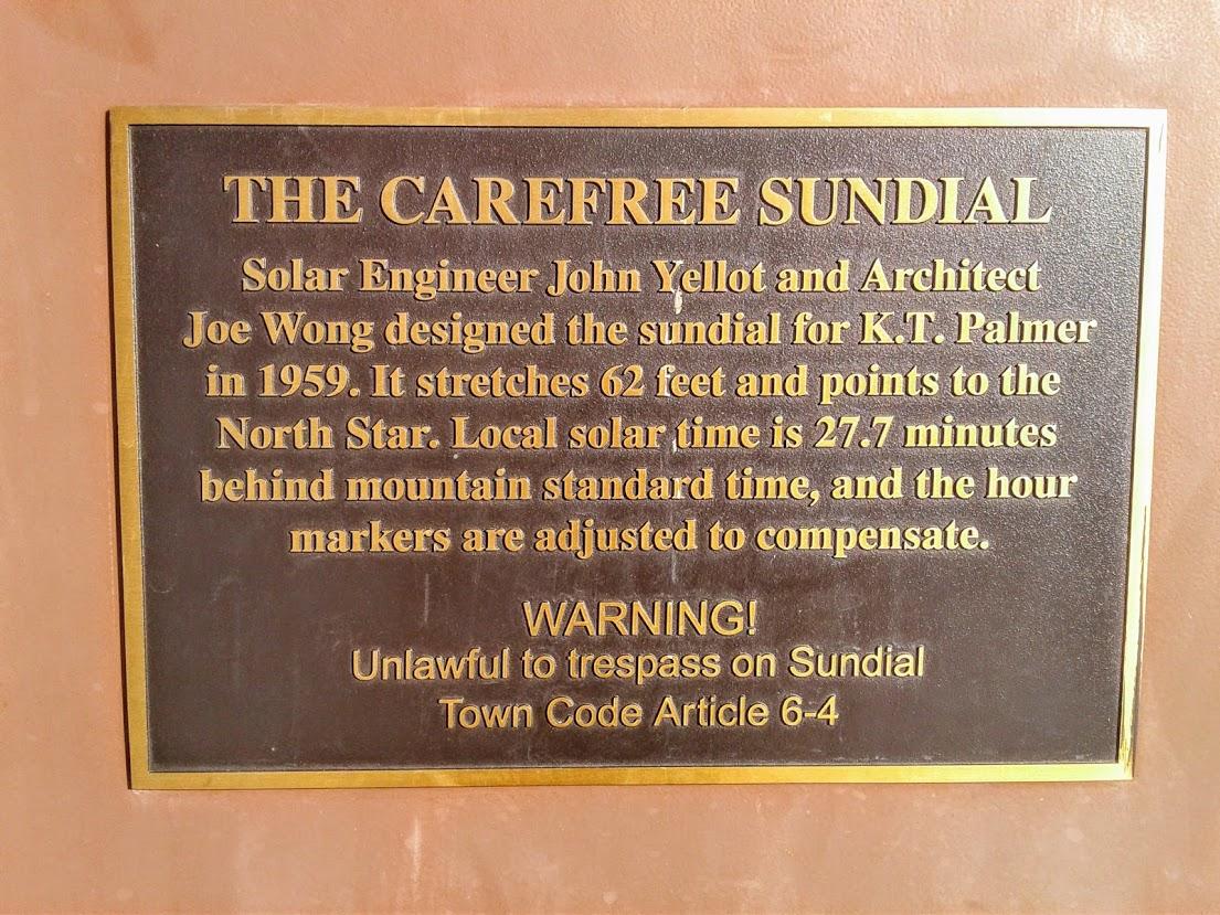 Carefree sundial plaque