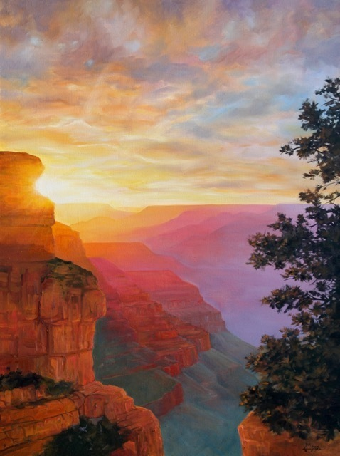 South Kaibab Sunset painting by Meg Newberg