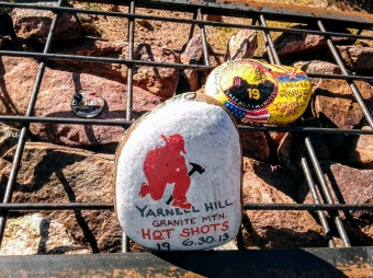 Close up of memorial offerings at Granite Mountain Hotshots Fatality Site