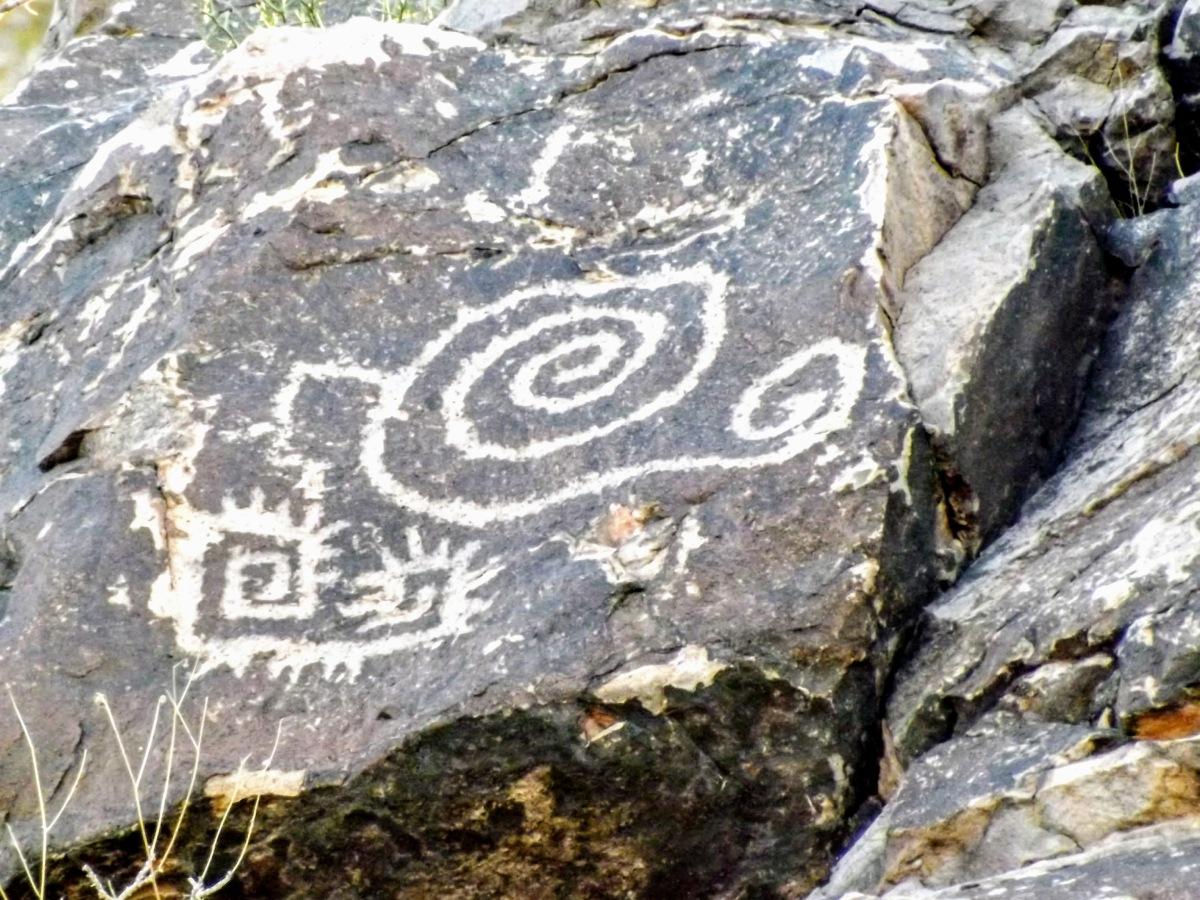 Hohokam petroglyph rock art at Hayden Butte in Tempe