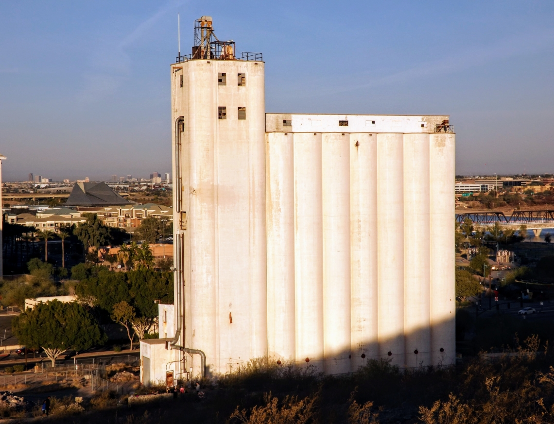 Close up view of Hayden Flour Mill in Tempe