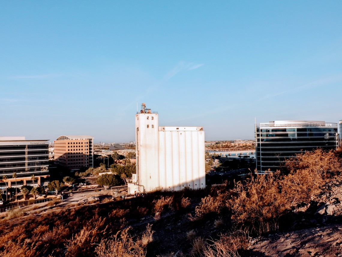 Hayden mill rises above the landscape in downtown Tempe