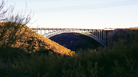 Long bridge connecting two sides of a gorge