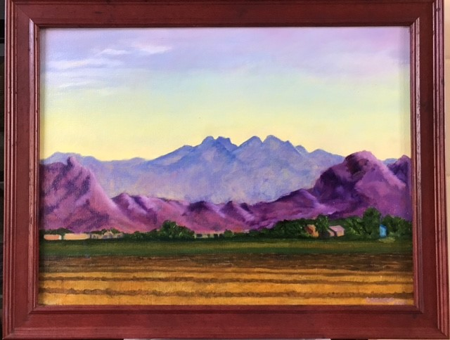 """Sunrise over Four Peaks"" oil on canvas"