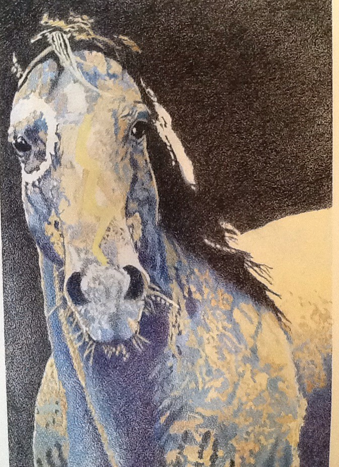 """Blue War Horse"" color pencil"