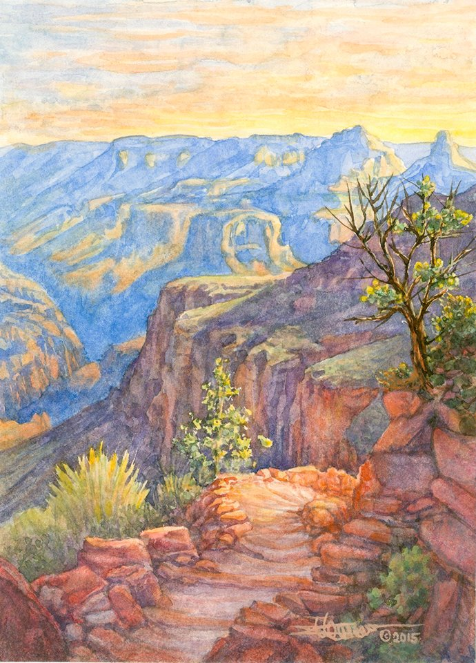 Image of watercolor painting Bright Angel Trail in Grand Canyon
