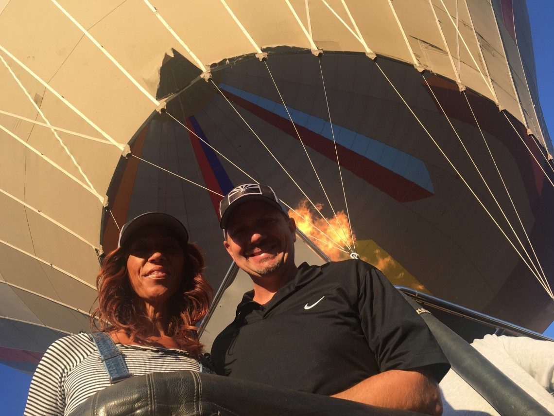 Close up of couple on hot air balloon
